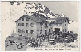 Flüela-Hospiz - Eidg.Extrapost & Bernhardiner - Stabstempel 1909 - Superanimation   (P-125-50124) - GR Grisons