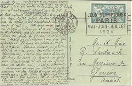FRANCE 11 Juillet 1924 Jeux Olympiques Athlétisme Oblitération Mécanique JEUX OLYMPIQUES Carte Postale Pour La Suisse - Sommer 1924: Paris
