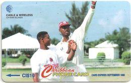 Cayman Isl. - Cricket Ian Bishop, 224CCIB, 1997, 10.000ex, Used - Cayman Islands