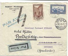 MAROC - SUISSE 15 FEVRIER 1935 PORT-LYAUTHEY Lettre Par Avion Pour Zurich, Via MARSEILLE AVION, Réexpédiée à Pontresina - Briefe U. Dokumente