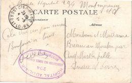 Militaire - Franchise Militaire - Hôpital Auxiliaire 294 - Association Des Dames Françaises - Montmorençy - Postmark Collection (Covers)