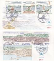 Saint-Pierre Et Miquelon - Lot 2 Enveloppes FDC Patrimoine - CAD 1989-90 - Timbres YT Triptyque 509A-530A - FDC