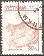 Vietnam - 1984 - Chat Marbré - YT 554 Oblitéré - Big Cats (cats Of Prey)