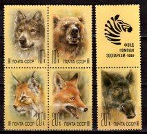1988 USSR - WIld Animals - Bear, Linx, Wolf, Fox, Wild Boar - Set Of 5 + Coupon II- See Scan - Mi 5877/5881 - Mnh** - Félins