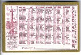 CALENDRIER ORIGINAL 1921 L UNION ASSURANCE CONTRE L INCENDIE  LE VOL ETC ...  PETIT CALENDRIER - Calendars