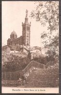 CPA ECRITE,MARSEILLE,N.D DE LA GARDE. - Notre-Dame De La Garde, Funicular Y Virgen
