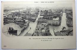 VUE PRISE DE LA TOUR DE L'HORLOGE DE LA GARE DE LYON LE 29 JANVIER 1910 - PARIS - CRUE DE LA SEINE - Distrito: 12
