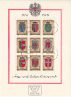 Austria 1976 Used Scott #1042 Sheet Of 9 2s Coats Of Arms Of Austria's Provinces - 1945-.... 2ème République