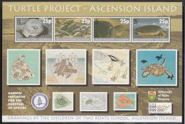 Ascension 2000 MNH Scott #754 Sheet Of 4 25p Turtle Project - Ascension (Ile De L')