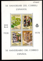 Andorra, Spanish 1978 MNH Scott #102 Sheet Of 4 Postal Services, Spanish 50th Anniversary - Andorre Espagnol