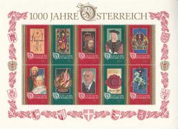 Austria 1996 MNH Scott #1710 Sheet Of 10 Millenium Of Austria - 1945-.... 2ème République