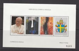 1992 Angola Pope John Paul Visit   Complete Sheet Of 4 MNH (Small Crease UR Corner) - Angola