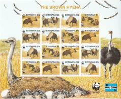 Botswana 1995 MNH Scott #586 Minisheet Of 16 4 Strips Brown Hyena WWF - Botswana (1966-...)