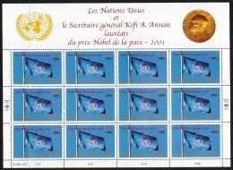 United Nations Geneva 2001 MNH Scott #384 Sheet Of 12 UN Flag Nobel Peace Prize - Office De Genève