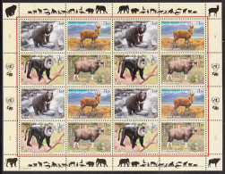 United Nations Geneva 2004 MNH Scott #421a Sheet Of 16 Bear, Deer, Macaque, Gaur - Office De Genève