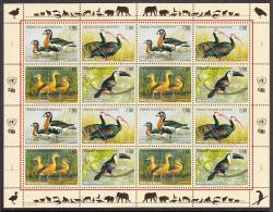 United Nations Geneva 2003 MNH Scott #410a Sheet Of 16 Goose, Ibis, Duck, Toucan - Office De Genève