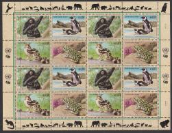 United Nations Vienna 2002 MNH Scott #311a Sheet Of 16 Siamang, Penguin, Linsang, Green Toad - Neufs
