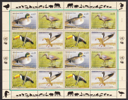 United Nations Vienna 2003 MNH Scott #332a Sheet Of 16 Teal, Ibis, Toucan, Goose - Neufs