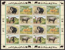 United Nations Vienna 2004 MNH Scott #345a Sheet Of 16 Sloth Bear, Deer, Mangabey, Water Buffalo - Neufs