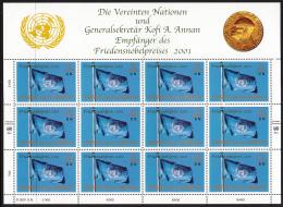 United Nations Vienna 2001 MNH Scott #301 Sheet Of 12 UN Flag Nobel Peace Prize - Centre International De Vienne