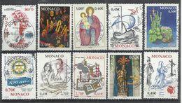 TEN AT A TIME - MONACO - EURO LOT OF 10 DIFFERENT COMMEMORATIVE 5 - USED OBLITERE GESTEMPELT USADO - Monaco