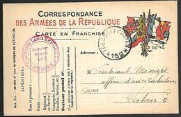 CM 170  Correspondance Militaire 9-12-15 Cachet Trésor Et Postes Simple Cercle N°(SP)152 QG Du 13ème Corps D'Armée - Marcofilie (Brieven)