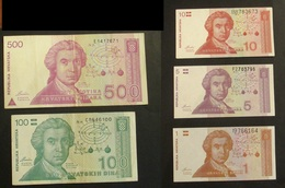 Croazia Croatia 1991 Series 500 100 10 5 1 Dinara - Croatie