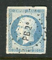 Superbe N° 14Af Bleu Laiteux - Cachet Ambulant PB2° - 1853-1860 Napoléon III
