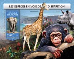Togo 2018, Animals In Danger, Elephant, Giraf, Rhino, Monkey, BF - Rhinozerosse