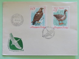 Hungary 1968 FDC Cover - Birds Geese Eagle - Hungary