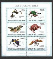 O) 2009 COMOROS, INSECTS - COLEOPTERES-ARTHROPODA, TRACHELOPHORUS-CICINDELA-LEPTINOTARSA-GELASTOCORIS, MNH - Comoros