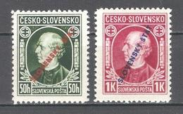 Slovakia 1939,Andrej Hlinka Overprinted,Sc 24-25,VF MNH** (MB-1) - Slovakia