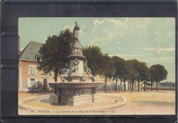 5823. NEVERS  . LA FONTAINE DE LA PLACE DE LA REPUBLIQUE . LL.   RECTO/VERSO .   1912 - Nevers