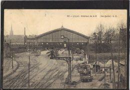 5998 . LILLE . INTERIEUR DE LA GARE . LES QUAIS . E. C. .  (recto Verso)  ANNEE 1908 - Lille