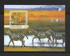 O) 2003 GUINEA BISSAU, ANIMALS OF AFRICA, PANTHERA PARDUS, HERON, ZEBRA EQUIDAE,EMBLEMS  OF LIONS CLUB - ROTARY CLUB, SC - Guinea-Bissau