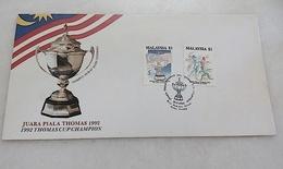 Malaysia FDC 1992 Thomas Cup Champion - Maleisië (1964-...)
