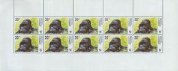 BUZIN / RD CONGO 2002 / WWF / 4 FEUILLETS COMPLET DENTELES / GORILLES DES PLAINES ORIENTALES / COB 2110 à 2113 - 1985-.. Oiseaux (Buzin)