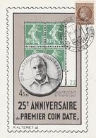 OBLIT. ILLUSTRÉE 25ème ANNIVERS. 1er COIN DATE - LYON 4/5/47 (Baron De Vinck) - Hoekdatums