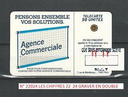 VARIÉTÉS 600 AGENCES SC5 ARGENT FOND NOIR TE22A ( VU 22024 ET 22169 ) 50U UTILISÉE - Errors And Oddities