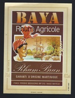 "étiquette Rhum   Baya Rhum Agricole Brun Martinique ""femme Coiffe, Bateau, Fût"" - Rhum"