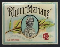 """Ancienne étiquette Rhum   Mariana """"DE"""" Zntrepôt Général Le Hâvre étiquette Vernie  """"femme Coiffe"""" Superbe - Rhum"""