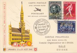 POSTE AÉRIENNE COURRIER SPÉCIAL BRUXELLES-BALE TIMBRES  PERFORE CARTE RÉPONSE PAYER/REPONSE 21-8-1948 - Luchtpost