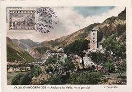 Andorre Espagnol Carte Maximum Du Poste Aérienne N° 1 25 Ene 1955 - Spanisch Andorra