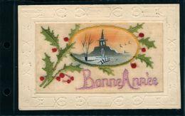 Fantaisie Broderie Fête Vœux Bonne Année  Carte Brodée Houx  Paysage Bordure Gaufrée - Ricamate