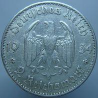 Germany 2 Reichsmark 1934 F AXF / XF Date - Silver - 2 Reichsmark