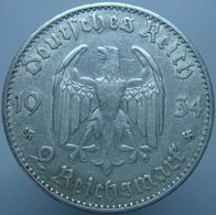 Germany 2 Reichsmark 1934 F AXF / XF Date - Silver - [ 4] 1933-1945 : Tercer Reich