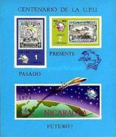 Nicaragua 1974 M/S 100 Years Universal POSTAL UNION UPU Organizations Space Stamps On Stamps Celebrations MNH Imperf - Space