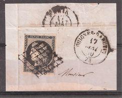 CERES N° 3 , 20 C Noir Obl Grille + Cachet GUIGNES RABUTIN,Seine Et Marne, 17 Mai 1850,+ Arrivée Paris Sur Fragment , TB - 1849-1850 Ceres