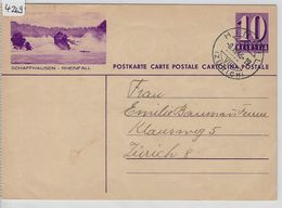 1936  Violett 139y - Schaffhausen-Rheinfall - Stempel: Hinwil 8.XI.46 - Stamped Stationery