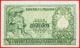 √ UNCOMMON TYPE: ITALY ★ 50 LIRE 1951 CRISP! LOW START ★ NO RESERVE! - [ 2] 1946-… : Repubblica
